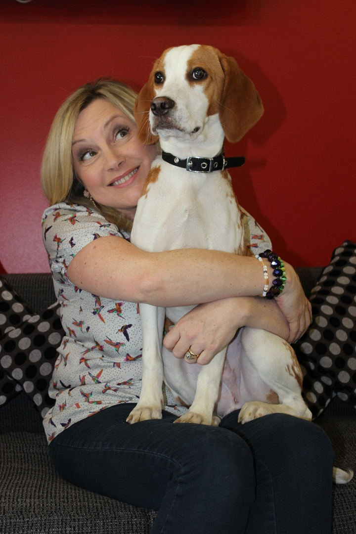 Wendy Turner Webster with rescued laboratory beagle