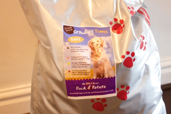 growling tums dog food bag